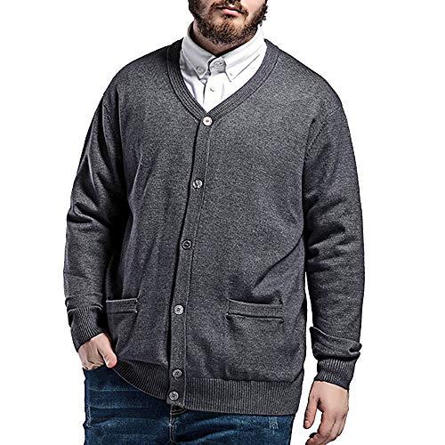 BAICHEN Herren Cardigan, Knit Cardigan V-Neck Shirt Großgrößenkiater,Gray,7XL -