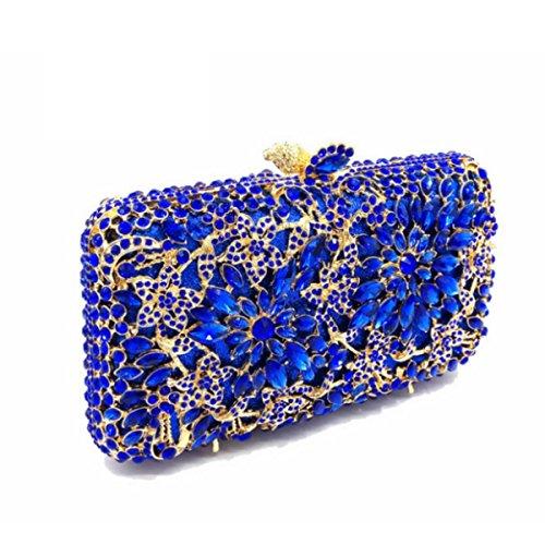 Luxus-Diamant-Abendbeutel Art Und Weise Diamant-Handtasche Der Frauen Blue
