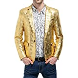Rera Herren Bunter Blazer Blitzende Anzugjacke Slim Fit Sakko Mantel Party
