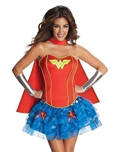 Damen Batgirl Supergirl Wonder Woman Robin Super Hero Korsett Tutu Halloween Junggesellinnenabschied Kostüm Kleid Outfit 6-18 - Wonder Woman, (Kostüme Supergirl Und Batgirl)