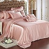 Silk Sheet set 4 Stück,Bettwäsche-set ultra soft silky hypoallergic luxus gedruckt 1 Quilt cover, 1 Sheet, 2 Kissenbezüge - 4 Stück-E King