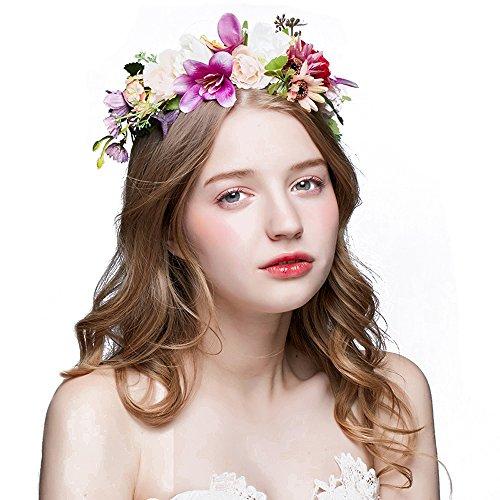 Seide Garn blumen Krone Haarschmuck BlumenKranz Haare Stirnband Garland,Hochzeit Festival Braut Haarkranz Blumenstirnband Lässige Outdoor Strand Party Erwachsene oder Kinder ()