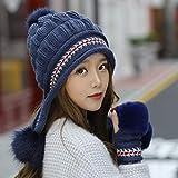 kyprx Sombreros de Cubo para Hombre Cubo de Hombre Chica Cálido Big FurWarm Glovesknit Hat Set Mujeres Sombrero Grueso Sombrero de Gorra Femenina