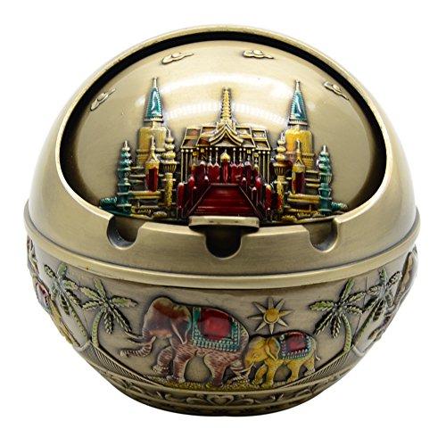 Decorativo Cenicero de Aleación para Cigarrillos con Tapa para Exteriores y Interiores, Elefante y Palacio Series (Bronce Antiguo)