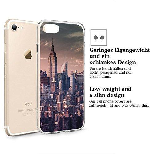 finoo | iPhone 7 Weiche flexible Silikon-Handy-Hülle | Transparente TPU Cover Schale mit Motiv | Tasche Case Etui mit Ultra Slim Rundum-schutz | Elefanten Marsch New York Vintage