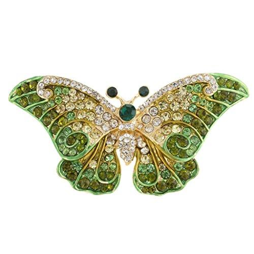 EVER FAITH® Cristal Autrichien Art Nouveau Papillon Broche Mignonne Aimable Vert, Argenté