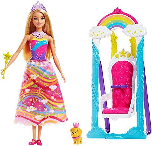 Barbie-FJD06 Princesa Arcoíris con Columpio Mattel FJD06