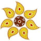 Wooden Rangoli Decoration,Home Decor (55 Cm X 1 Cm X 55 Cm, Yellow, Pack Of 8)