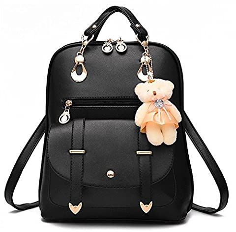 YAAGLE Korean PU Shoulder Bag Large Capacity Travel Simple Bag With Bear Key Chain for Women and Girl