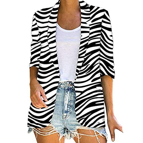 TTLOVE_Damen Florale Kimono Cardigan - Tops Cardigan Bluse Shawl Sommer Beachwear Cover up Leichte Strand Jacke Work Office Blazer mit Leopardenmuster Mantel (Weiß,XXL)