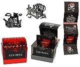 Unbekannt 1 Stück: 2 in 1: Piraten Stempel + Sticker - selbstfärbender Stempel Incl. Stempelkissen - Pirat / Schatztruhe / Piratenschiff - selbstfärbend - für Kinder / Aufkleber