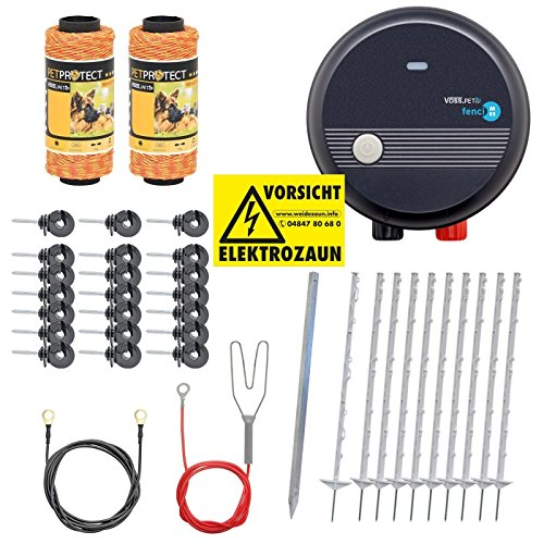 VOSS.PET Kit Valla eléctrica económica para jardín, Set Completo 230 V, con...