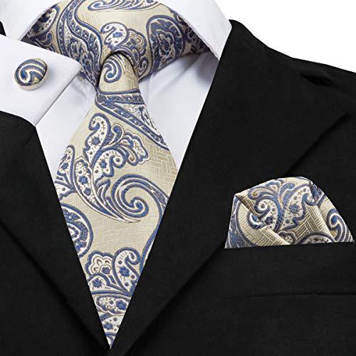 HYCZJH Fashion Design Silk Ties for Men 8.5Cm Width Classic Suit Tie Set Pocket Handkerchief Cufflinks
