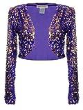 Anna-Kaci donna lustrino manica lunga Glitter Paillettes Bolero Blazers Shrugs Cropped Giacche cappotto Giacca, Viola, XX-Large