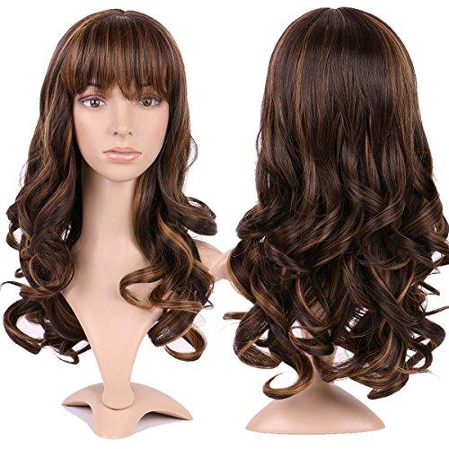 17 inch parrucca lunga parrucca da donna capelli lunghi mossi ondulati kanekalon resistente al calore, marrone/caffe