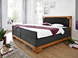 moebel-eins BELLAMIE Boxspringbett Hotelbett Bett amerikanisches Bett mit massivem Holzrahmen 7-Zonen Taschenfederkernmatratze 180 x 200 cm Härtegrad 3