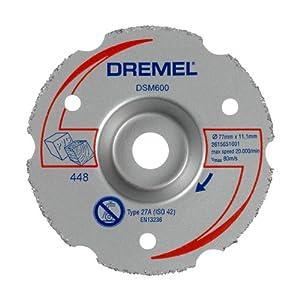 Dremel DSM600 Disco de corte enrasado de carburo, accesorio sierra circular, 20 mm profundidad corte para herramienta DSM20, cortar recto, por inmersión, enrasado pladur, plástico, madera o laminados
