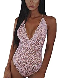 3d506dc71 LHWY Women Sexy Lace Backless Jumpsuit Sexy Lingerie Bodysuit Pajamas  Underwear For Ladies For Sex V