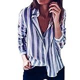 OverDose Damen Casual Gestreift Hemd Frauen Fashon Striped Langarm lose Bluse T-Shirt Tops Oberteile(D-blau,EU-38/CN-M)