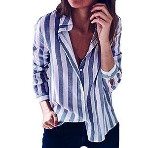 NINGSANJIN Damen Elegant Knopf V-Ausschnitt Langarmshirt Manschetten-Ärmel Locker Streifen Casual Tunika Shirt Bluse