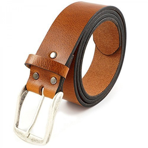 Echt Ledergürtel Schwarz Braun Vintage Gürtel Ledergürtel 100% Echt Leder 20451, Größe:105cm;Farbe:Beige