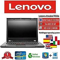 Lenovo portátil T430s i53320M 2.60GHz 8GB 240GB SSD W10Pro (Certificado y General para embragues)