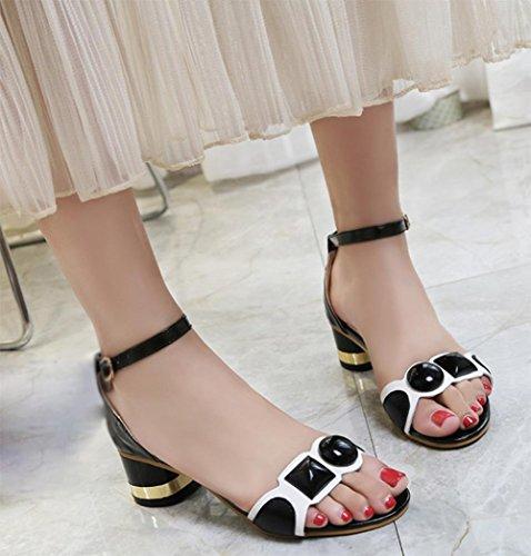 Sommer offene Schuhe in der rauen mit dem Wort cingulären Ferse Sandalen Fräulein Luo Ma Sandalen weiblichen Paket Black