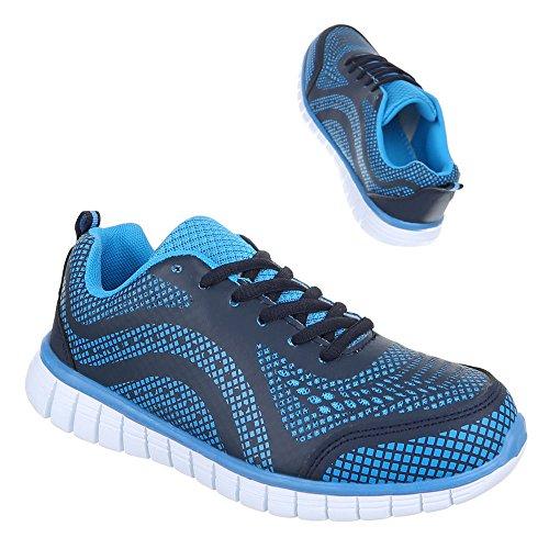 Ital-Design Sportschuhe Damenschuhe Geschlossen Sneakers Schnürsenkel Freizeitschuhe Blau 1402015-1