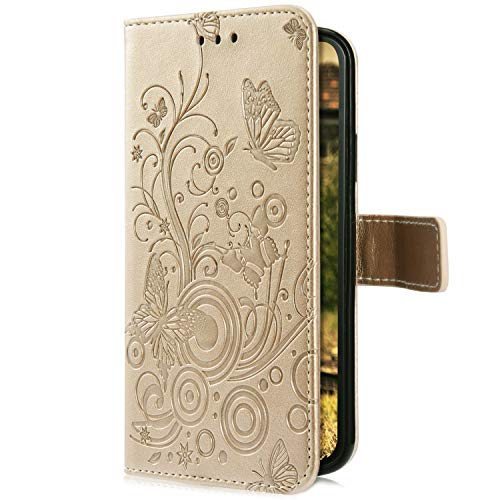 Uposao Kompatibel mit Samsung Galaxy A50 Handyhülle Hülle Flipcase Schmetterling Blumen Muster Flip Wallet Schutzhülle Bookstyle Leder Tasche Klapphülle Case Magnet Kartenfach,Gold