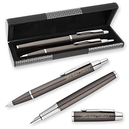 PARKER Schreibset IM Gunmetal C.C. mit Laser-Gravur Füllfederhalter und Kugelschreiber im LOGIC Geschenk-Etui