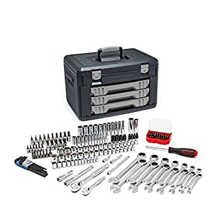 GearWrench 80943 168-Piece 1/4-Inch and 3/8-Inch Metric Mechanics Hand Tool Set in Case | Contains Ratchets, Sockets, Spanners, Hex Keys, Screwdriver, Bits, etc. | Lifetime warranty