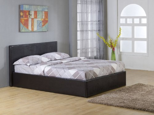5ft king size ottoman storage bed leather Black with gas lift action TIGERBEDS