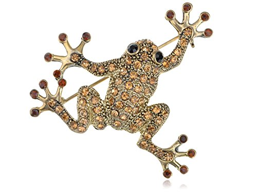 (Alilang GoldFarbton Topaz Farbige Strass Frosch Toad Brosche)