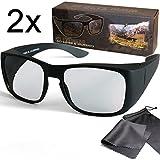 SJ3D Passive 3D Überziehbrillen - Set für Brillenträger oder ohne Brille - 2x Polfilterbrille zirkular polarisiert - Für RealD 3D Kino & TV: LG Cinema 3D Philips Easy 3D Telefunken Toshiba 3D Natural Vizio 3D und 3DTVs von SONY Grundig Panasonic Hisense CMX uvm. - Inkl. Mikrofaser Brillenbeutel und Putztuch