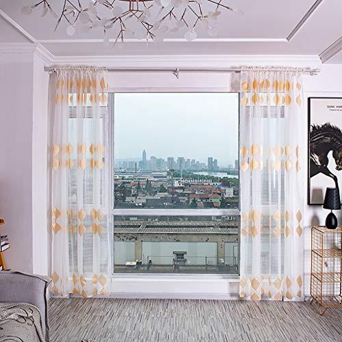�nge mit versteckten Schlaufen & edel Stickerei Wohnzimmer Modern,Bäume Gardine Tüll Fenster Voile drapieren Volant Stoff,Gardinen Schals Leicht & Soft (Gold) ()