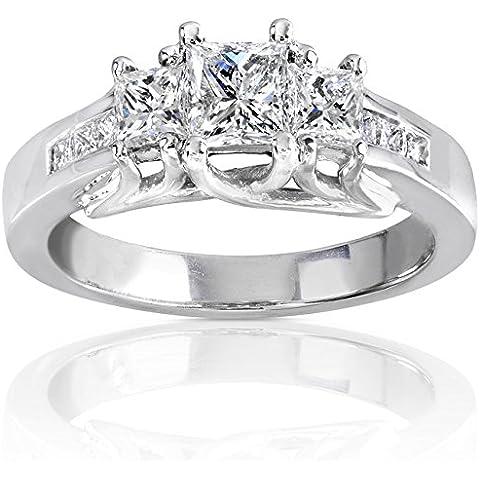 Con diamante da 1 k (ctw)-Anello di fidanzamento in oro bianco 14 k