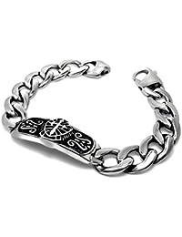 15b8e4aba31b BOBIJOO Jewelry - Gourmette Bracelet Templier Chevalier Acier Inoxydable  Epée Maçonnique Chevalier