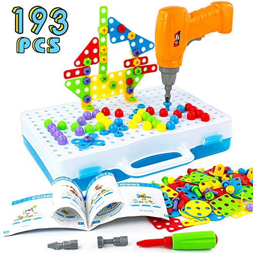 Jerryvon STEM Toys Construction Assembly Electric Drill Screw Mosaic Puzzle Creative DIY Disassembly Take Apart 3D Puzzle for Children Kids Boys 3 4 5 Years old