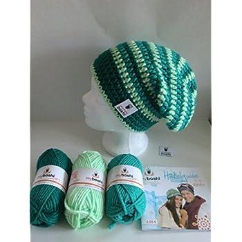 my boshi Häkelset Mütze, smaragd, jade, minze wie abgebildet m. 150g myboshi Wolle, Label, Anleitungsbuch, Lara's Creations Anleitung