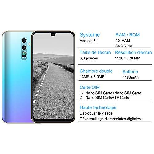Smartphone Pas Cher 4G Écran 6.3 Pouces Android 8.1, Dual SIM 4Go RAM+ 64Go ROM, Telephone Portable Debloqué, NEEMIT P10, Octa-Cores MTK6763,Double Caméra 13MP +8MP, Batterie 4180mAh(2019)