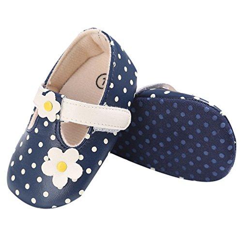 EOZY-Primi Passi Scarpine Bimba Scarpe a Puntini Fiore Bambina Sandali PU Pelle Blu