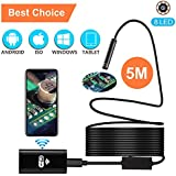 Wireless Endoscope, Waterproof Semi-rigid USB Endoscope 8 LED Inspection Camera, 2.0 Megapixel HD WiFi Borescope For IPhone, Android, Laptop, Tablet-16.4 FT/5M