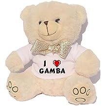 Oso blanco de peluche con Amo Gamba en la camiseta (nombre de pila/apellido