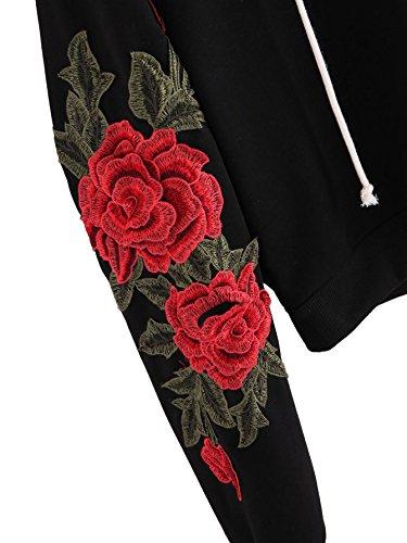 ROMWE Damen Kapuzenpullover mit 3D Rose Stickerei Applikation Hoodie Kapuzenshirt Schwarz