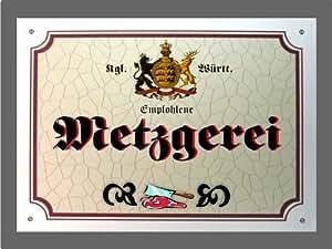 Poster metzgerei Métal–Panneau de Bade-Wurtemberg (XXL 36x 28CM)