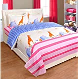 Cotton Double Bed Sheet For Kids Cartoon Print Attractive Colorful With 2 King Size Pillow Covers Set - Bed Sheet Size 90 X 100 Inch And Pillow Cases Size 18X28 (XL/King Size) By P Home Decor