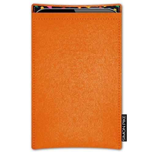 SIMON PIKE AppleiPhone 7 / 6 / 6S Filztasche Case Hülle 'Boston' in anthrazit1, passgenau maßgefertigte Filz Schutzhülle aus echtem Natur Wollfilz, dünne Tasche im schlanken Slim Fit Design für das iP orange Filz (Muster 13)