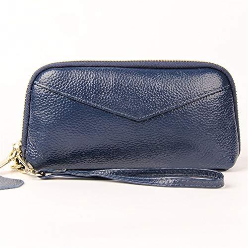 Lisansang Womens RFID Walllet Frauen, die Mappen-Leder-Zip um Telefon-Clutch-große Reise-Geldbeutel-Armband blockieren Damen Leder Zip Around Wallet, Frauen, die Geldbör (Farbe : Sapphire) -