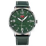 Relojes Hombre,Reloj Ultrafino con Esfera Grande para Hombre con Calendario Reloj De Cuarzo Resistente Al Agua Superficie De Acero con Cubierta Verde