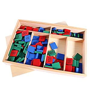 Sharplace Montessori Boîte Kit Matériel Mathématiques Jouet de Comptage en Bois Cadeau Anniversaire Noël pour Enfants